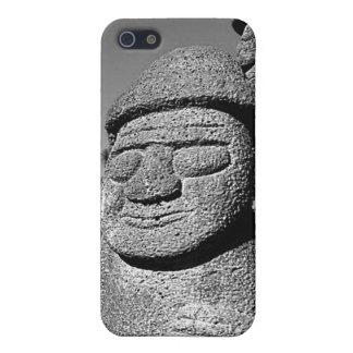 Estatuas de abuelo de piedra Harubang BW de Jeju iPhone 5 Protectores