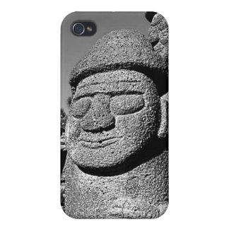 Estatuas de abuelo de piedra Harubang BW de Jeju iPhone 4 Cobertura