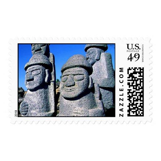 Estatuas de abuelo de piedra Harubang BW de Jeju Sellos