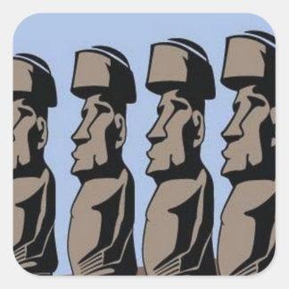 Estatuas de la isla del nui de Rapa Pegatina Cuadrada