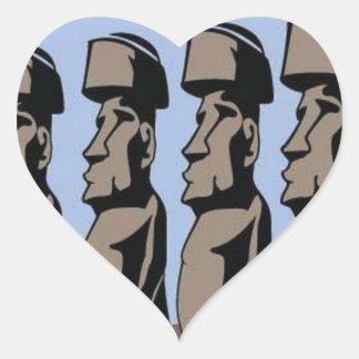 Estatuas de la isla del nui de Rapa Pegatina En Forma De Corazón