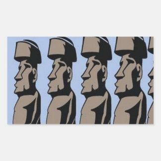 Estatuas de la isla del nui de Rapa Pegatina Rectangular