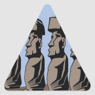 Estatuas de la isla del nui de Rapa Pegatina Triangular