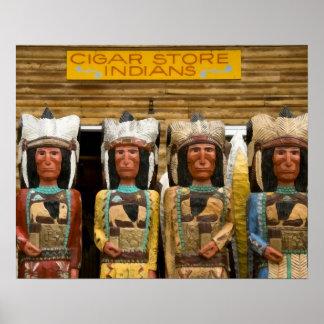 Estatuas del indio de la tienda de cigarro impresiones