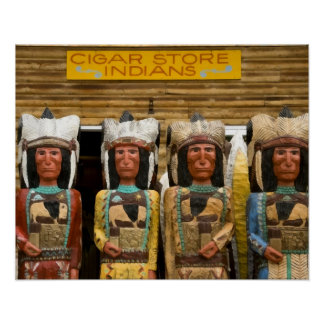 Estatuas del indio de la tienda de cigarro póster