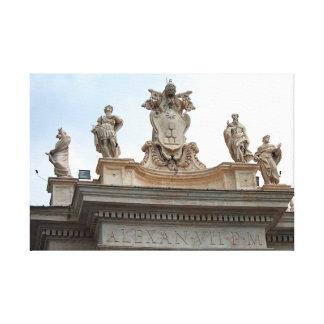 Estatuas en el cuadrado de San Pedro en la Ciudad Impresión En Lienzo