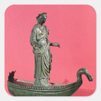 Estatuilla de la diosa Sequana Pegatina Cuadrada