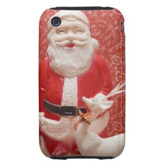 Estatuilla de Papá Noel Tough iPhone 3 Protectores