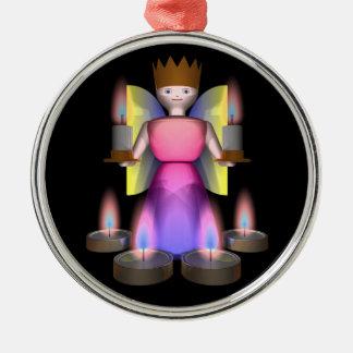 estatuilla del ángel con las velas adorno navideño redondo de metal
