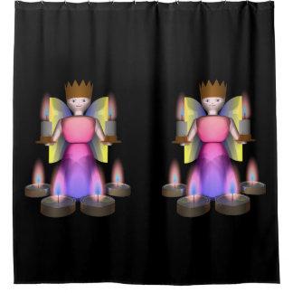 estatuilla del ángel con las velas cortina de baño