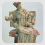 Estatuilla del Aphrodite que juega con eros Pegatina Cuadrada