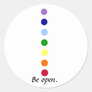 Esté abierto - los pegatinas simples del diseño de pegatina redonda