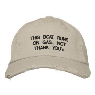 """Este barco corre en el gas… No """"gracias """" Gorras Bordadas"""