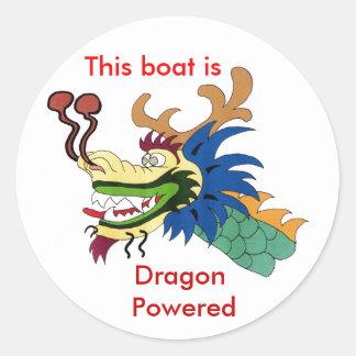 Este barco es, dragón accionado etiquetas redondas