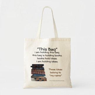 Este bolso sostiene los libros que llevan a cabo l bolsa tela barata