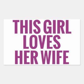Este chica ama a su esposa rectangular pegatinas