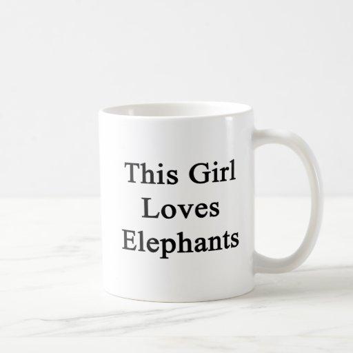 Este chica ama elefantes taza de café