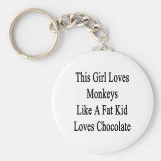 Este chica ama monos como los amores Choco de un Llavero Redondo Tipo Pin