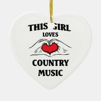 Este chica ama música country adorno navideño de cerámica en forma de corazón