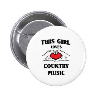 Este chica ama música country pin redondo de 2 pulgadas