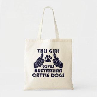 Este chica ama perros australianos del ganado bolsa tela barata