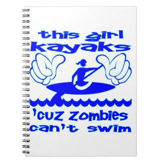 Este chica Kayaks los zombis de Cuz no puede nadar Libretas