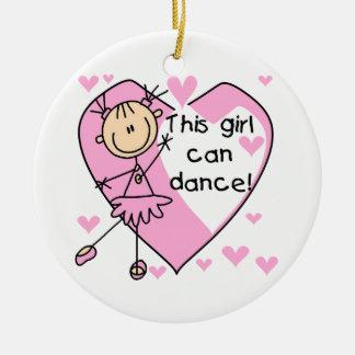 Este chica puede bailar las camisetas y los adorno navideño redondo de cerámica
