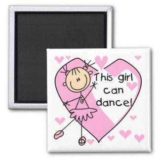Este chica puede bailar las camisetas y los regalo imán cuadrado