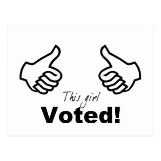 Este chica votado tarjeta postal