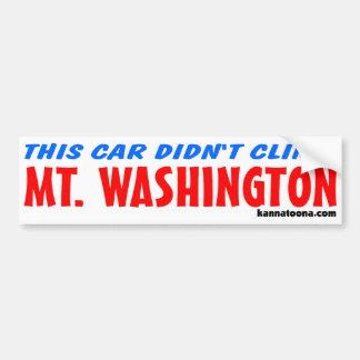 Este coche no subió Mt. Washington Pegatina Para Auto