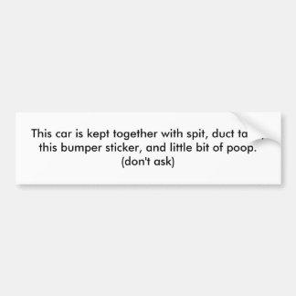 Este coche se guarda así como el escupitajo cinta etiqueta de parachoque