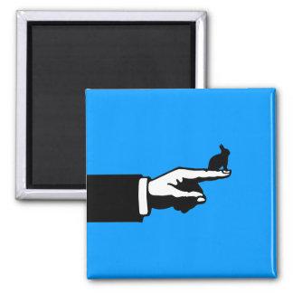 Este conejito de la manera (azul) imán cuadrado