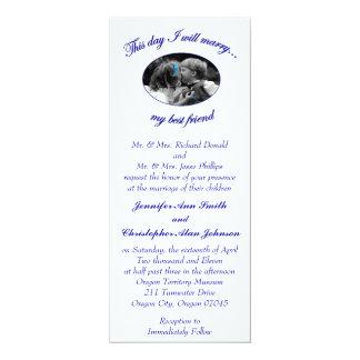"""Este día casaré mi mejor tarjeta amigo-Plana Invitación 4"""" X 9.25"""""""
