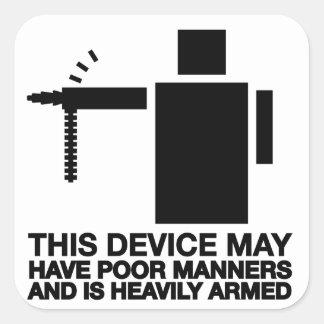 Este dispositivo puede tener maneras pobres y es pegatina cuadrada