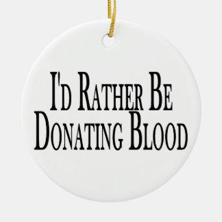 Esté donando bastante sangre adorno navideño redondo de cerámica