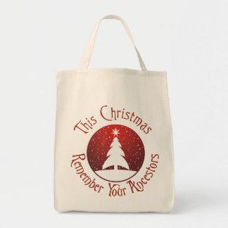 Este el navidad recuerda a sus antepasados bolsa tela para la compra