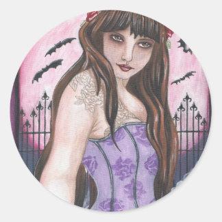 Esté en la luna a la doncella I - arte gótico Pegatina Redonda