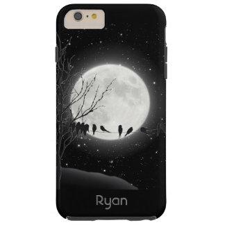 Esté en la luna el baño, pájaros, caso más del funda de iPhone 6 plus tough