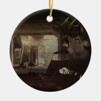Éste es cómo la disociación siente adorno navideño redondo de cerámica