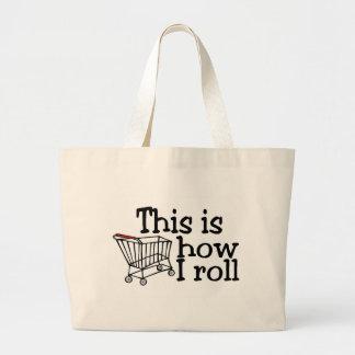 Éste es cómo ruedo el carro de la compra bolsas lienzo
