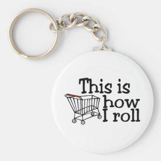 Éste es cómo ruedo (el carro de la compra) llavero redondo tipo pin