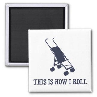 Éste es cómo ruedo el cochecito de bebé imán cuadrado
