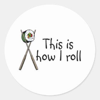 Éste es cómo ruedo el sushi pegatina redonda
