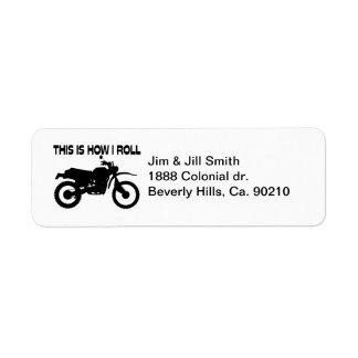 Éste es cómo ruedo la bici de la suciedad etiqueta de remitente