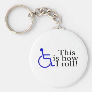 Éste es cómo ruedo la silla de ruedas llavero redondo tipo pin