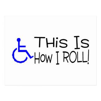 Éste es cómo ruedo la silla de ruedas postal