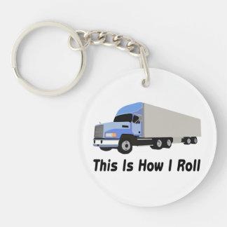 Éste es cómo ruedo semi el camión llavero redondo acrílico a doble cara