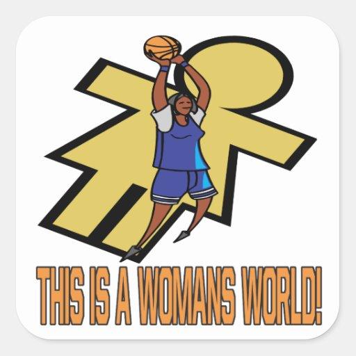 Éste es el mundo de una mujer pegatina cuadrada