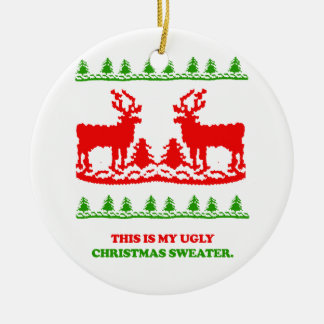 Éste es mi suéter feo del navidad adorno navideño redondo de cerámica