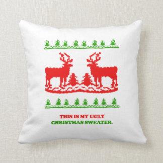 Éste es mi suéter feo del navidad almohadas